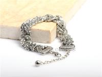 Luxury  Brand New Arrival Silver Bling Full Stainless Steel Bracelet Wristband For Women Ladies Elegant Jewelry