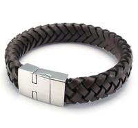 Unique Designer 316L Stainless Steel Bracelets & Bangles Clasp Brown Leather Magnetic Clasp Bracelet