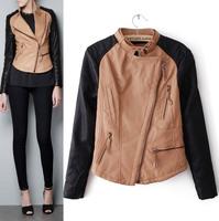 New Women Autumn Motorcycle Leather Jacket Coat Women's Short Zipper Slim Outerwear Color Matching Coats Jackets casaco jaqueta