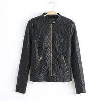 Fashion Women Autumn Motorcycle Leather Jacket Coat Women's Diamond Short Zipper Slim Outerwear Coats casaco jaqueta feminina