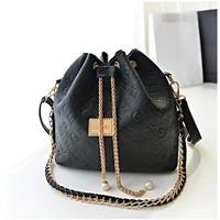 HOT2014 Fashion women leather handbag ladies pearl chain bag vintage printing bucket bag casual women shoulder bag messenger bag