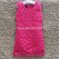 2014 Summer New Arrival Fashion girls dresses  Handmade Lace Hollow big flower dress for girls sundress 4colors 6T-12T 4PCS/LOT