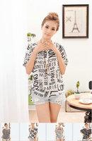 LZ 2014 new fashion women summer chiffon shirt Blouse&Tops black & white stripe letter leaves print female clothing S M L XL XXL