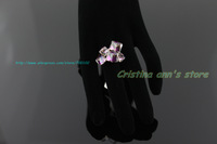 Chameleon Crystal Ring 18K Plated Rose Gold Amethyst Ring Jewelry Engagement Finger Ring Free Shipping Plus Size