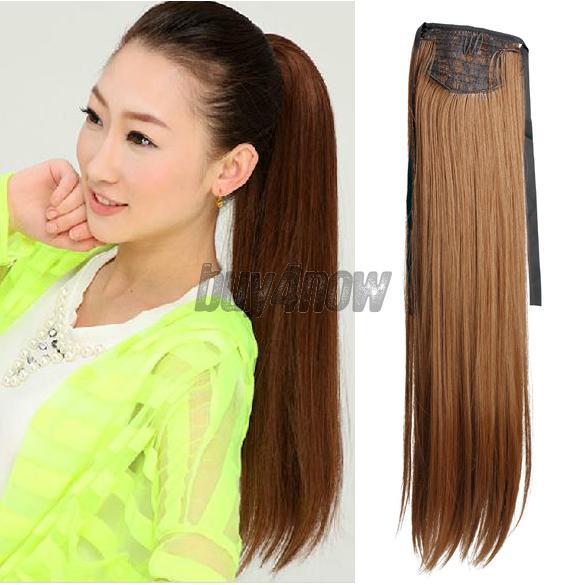 Купить Волосы и аксессуары  Long Lady Girl Straight Ponytail Wigs Hair Hairpiece Extension Dark Flaxen 1STL None