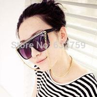 Large chain sunglasses female tide