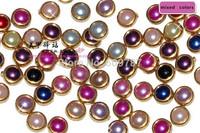 Free Shipping 200pcs/bag 4mm mixed colors fashion flatback nail art  pearl beads