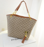 Hot sale 2014 brand designer women bag letter print tote bag chain big women handbag soft female personality tassel shoulder bag