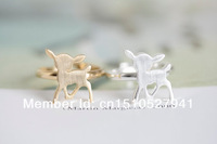 unique adjustable rings animal bambi gentle rhinestone onta open ring color gold/silver/rose gold