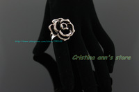 18K Plated Rose Gold Austrian Crystal Black Enamel Rose Flower Ring For Women Jewelry  Free Shipping Plus Size