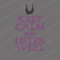 Wholesale 50Pcs/Lot Keep Calm And Listen Will Rhinestone Applique Iron On Transfer Hotfix Motif Korean Quality