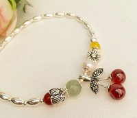 925 silver foot chains 2014 spring and summer, pastoral style series of red cherry buds