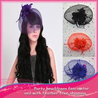 HOT SELLING !1pcs Wedding Bridal Vintage Fascinator Veil Feather hair Headdress Flower Accessories Free Shipping