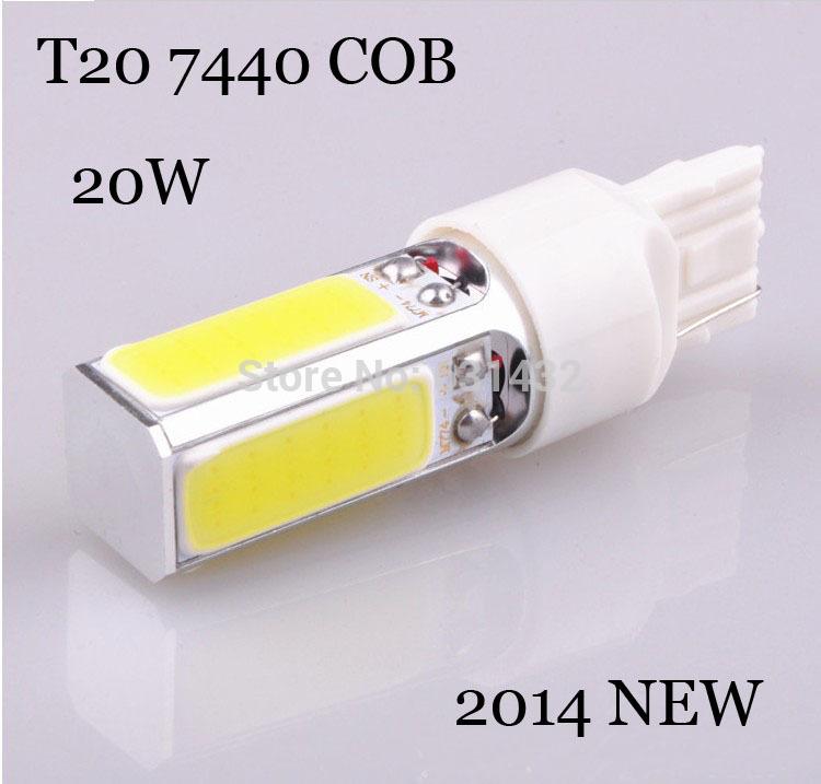 2Pcs/lot 2014 New High Power 20 watt W21W T20 7440 LED Pure White Parking Head Reverse Light auto Lamp Bulb 12V COB CAR LIGHT(China (Mainland))