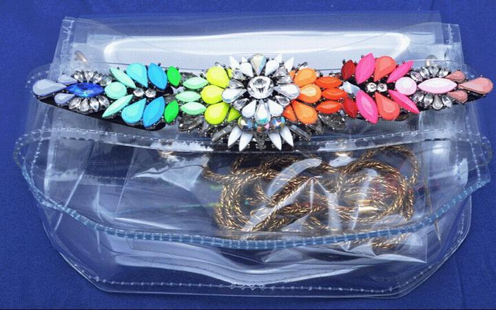 New arrival rainbow colored mini imitation gem transparent pvc shoulder bag(China (Mainland))