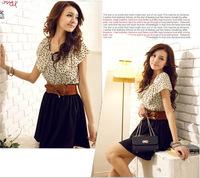 NEW Hot Fashion Women Lady Chiffon Dress Summer Short Dots Dress Polka Waist Mini Dress Backless With Belt Feminine Dresses