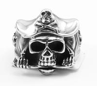 Punk Cool Mens Fashion Samurai Skull Ring ,Hot Stunning Soild Silver Stainless Steel Death Sons Of Anarchy Biker
