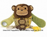Retail ! 2014 Multifunctional Baby Rattles Toys Cartoon Monkey With Mirror&BB Device&Teether&Sound Paper Infant plush dolls 1pcs