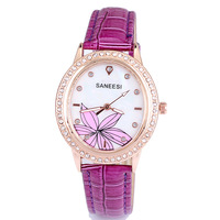 High quality brand oval watches leather ladies crystal rhinestone flower quartz analog quartz free shipping