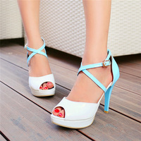 2014 women's pumps 3cm platform cross-tied peep toe shoes 11cm thin heels cover-heel lady's summer sandals yellow,blue,red