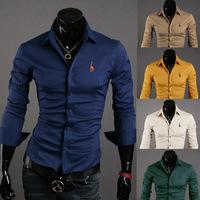 2014 men's fashion shirt men solid color shirts Autumn Spring men's shirt long-sleeved Casual Shirts men 5 color plus size XXL