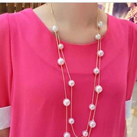 Min.Order Is $10 (Mix Order) Free Shipping&Multilayer Pearl Necklace Korea Fashion Elegant Princess Necklace (White)