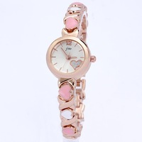 Free shipping christmas gift new style rubber heart design shiny bracelet rose gold luxury ladies girls women's wrist watches