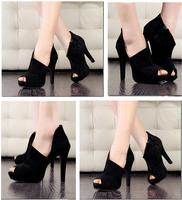 2014 Fashion New Sexy Shoes Women Pumps High Heels Summer Boots Sole Evening Shoes Cutout Peep Toe Platform Black