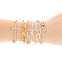 Diamond 8 words Shape Love Cross elastic bracelet 1.66usd/pcs, min order 3 pcs!