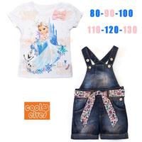 Retailer 2014 Summer Girl Clothing Sets Frozen Princess Elsa Dress Costume for Children  Y20