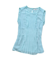 BigBing Fashion summer women's loose o-neck double layer chiffon sleeveless shirt vest design plus size   DX060
