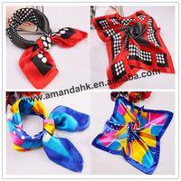 500 pcs/lot 50*50 cm women fashion imitated silk fabric printing satin Square Scarf korean Ring scarf Kerchief Shawl Hijab