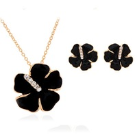 New Golden Fashion Sets,High Quality White Black Flowers Crystal Pendant Necklace and Stud Earring Wholesale Beautiful Jewelry