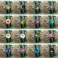 DIY picture Glass cabochon alloy pendant bracelets Love,Branch birds charms Green,Black leather cords bracelets Min.Order is $5