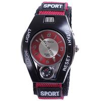 Compass watch men sport casual fabric strap noctilucent analog display alloy case tonneau shape wristwatch hot sale dropship