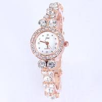 Luxury diamond watch women white quartz rose gold plated round dial full crystal rhinestone bracelet free shipping hot sale