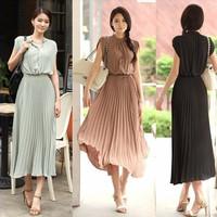 2014 Hotsell New Fashion Round Neck Boho Pleated Chiffon Casual Dress Bohemia Maxi Long Women Dresses M/L/XL Free shipping#5820