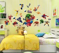 Avenger Wall Sticker Baby Kids Room Stickers Cartoon Spider-Man Decals Home Decor Wallpaper Poster Home Decoration Nursery Art