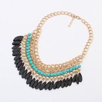 YXSP003  2014 new fashion Bohemian National Wind Acrylic droplets tassel collarbone necklace for women