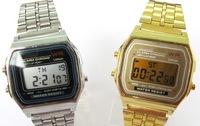 CLASSIC RETRO VINTAGE STYLE GOLD - SILVER UNISEX DIGITAL METAL LCD WATCH