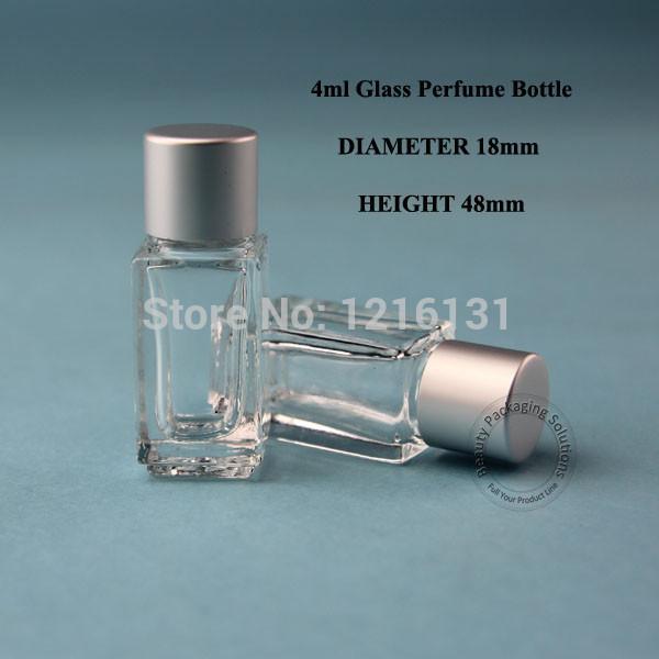 5pcs 4ml Silver Cap Square Mini Travel Glass Prefume Bottle Parfume Vial With Screw Cap Refillable Glass Fragrance Bottle(China (Mainland))