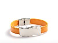 Wholesale Free Shipping Fashion Magnet Buckle Orange Leather Charm Bracelets For Women Mens