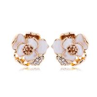 Korea Imported Jewelry Junior Bohemia Flower Earrings Wedding Jewelry Women Earrings Gold Plate Austrian Crystal Enamel Earring
