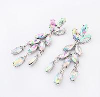 YXSP1558     2014 new fashion  Fashion big crystal leaves   earring for women