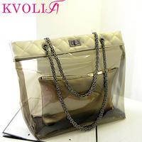 Hot fashion jelly women handbag transparent shoulder bag beach  plaid messenger bags new 2014 HL2007