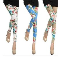 Spring, summer, autumn new classic fashion peony combed cotton Super stretch leggings nine minutes of pants