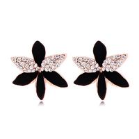 Promotion Hot Selling Elegant Girls Classic Trendy Black Flower Stud Earrings Korean Jewelry for Women Ladies Accessories