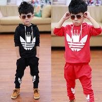 New 2014 Autumn&Winter Children Cloting Sets Fashion Cotton Clover Children Hoodies&Pants Baby & Kids Clothes Sets C20W03