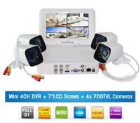 Mini Monitor 4CH D1 H.264 DVR 7 Inch LCD Screen 700TVL Support HDMI CVBS VGA Output Night Vision CCTV Color Infrared Camera