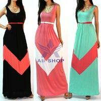 2014 New Women Summer Long Sleeveless Dress Maxi Casual Beach Vest Floor Length Dresses Vestidos With Belt Black Red Green 02513